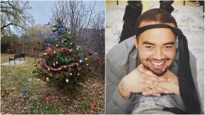Veronica Daley says strangers redecorated a community tree which had all of its ornaments stolen. The tree was planted in memory of her son, Gavin, who was killed in 2015. (Supplied)