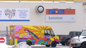 This Nov. 23, 2020 photo shows a Canada Post mail processing facility in Saskatoon. (Dan Shingoose/CTV News)
