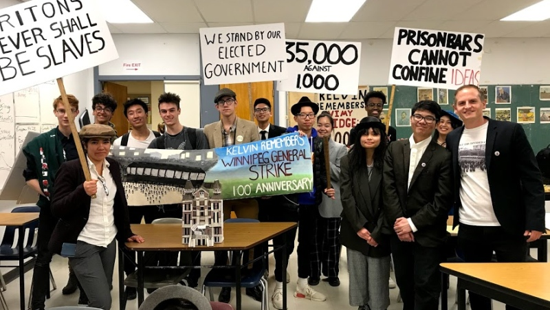 Teacher Chris Young and his students present part of the Kelvin Remembers the Winnipeg General Strike project. (Provided)