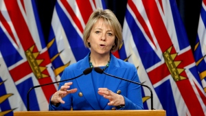 Provincial Health Officer Dr. Bonnie Henry provides the latest update on the COVID-19 pandemic in the province during a press conference in the press theatre at Legislature in Victoria, B.C., on Thursday, Oct. 22, 2020. (Chad Hipolito / THE CANADIAN PRESS)