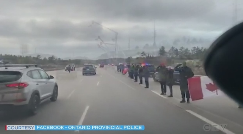 Watch CTV News coverage of the police escort returning fallen Ontario Provincial Police Const. Marc Hovingh to Manitoulin Island.