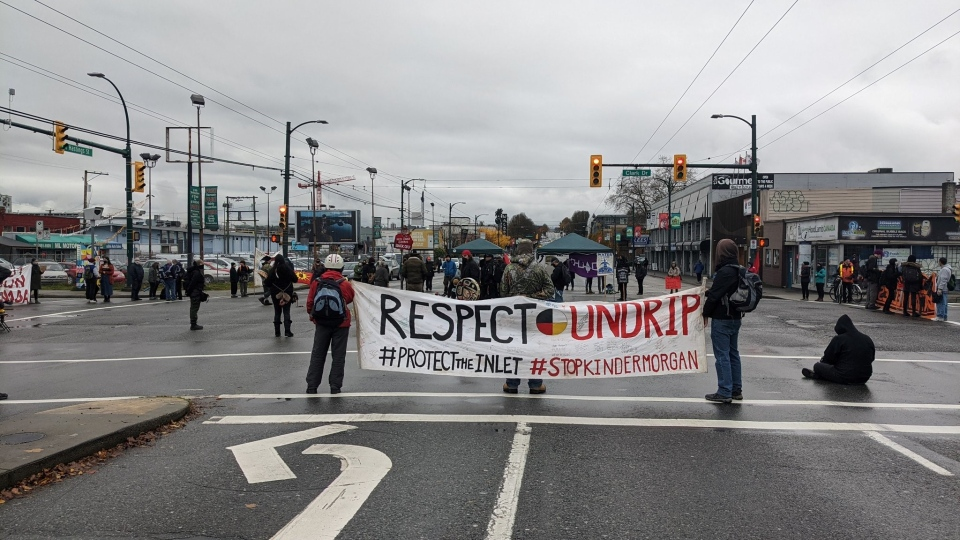 Demonstrators block the entrance to the port of Vancouver on Nov. 23, 2020. Photo by Ben Miljure