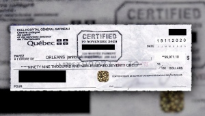 An image of the cheque given to Orleans Janitorial Supplies to pay for an order of personal protective equipment. The company says their bank told them the cheque was a fake. (Photo courtesy of Orleans Janitorial Supplies)