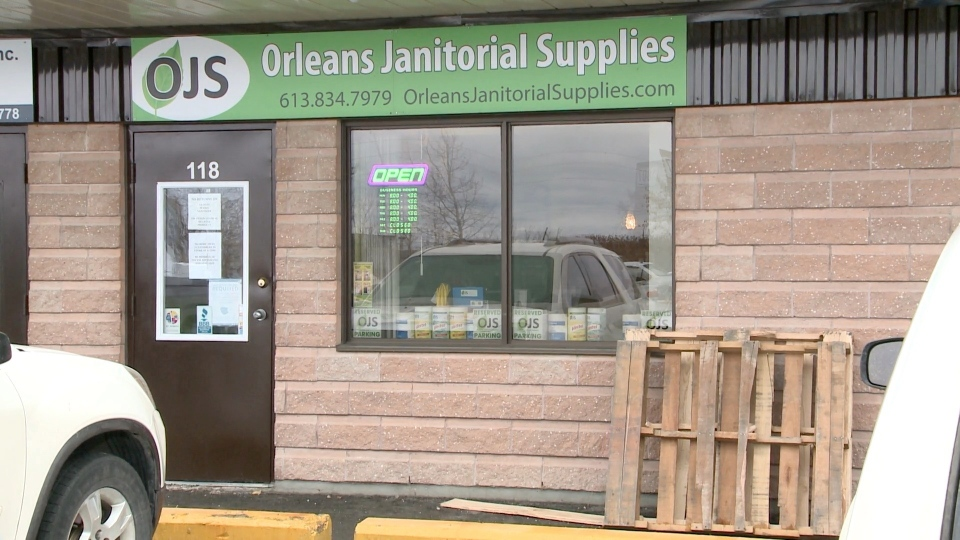 Orleans Janitorial Supplies on St. Joseph Boulevard in Ottawa, ON. Nov. 23, 2020. (Chris Black / CTV News Ottawa)