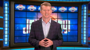 This image released by JEOPARDY! shows Ken Jennings, a 74-time champion the the set of the popular quiz show. (JEOPARDY! via AP)