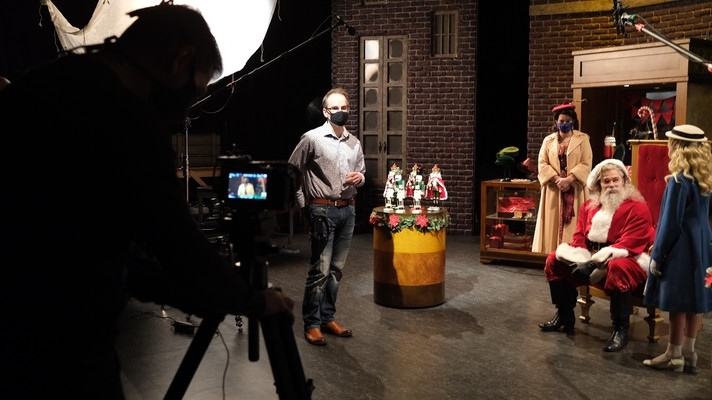 Behind-the-scenes at the video shoot for the Citadel's 'A Christmas Carol.' (Source: Citadel Theatre)