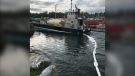 The Canadian Coast Guard estimates that 300 to 500 litres of diesel spilled after the crash: (Canadian Coast Guard/Twitter)