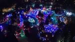 VanDusen Botanical Garden's Festival of Lights is seen from an aerial view.