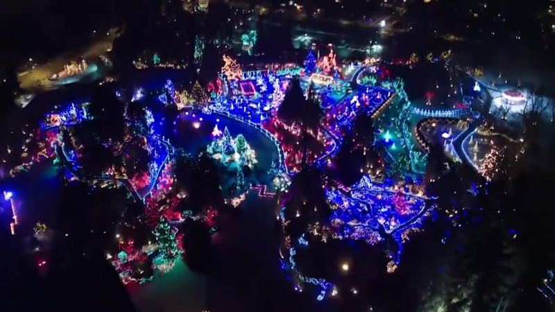 VanDusen Botanical Garden's Festival of Lights is seen from an aerial view.