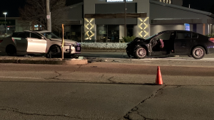 Two vehicles are heavily damaged following a crash on Wellington Road on Monday, Nov. 23, 2020. (Taylor Choma / CTV London)