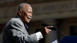FILE - In this Oct. 15, 2015 file photo, former New York City Mayor David Dinkins speaks during a ceremony to rename the Manhattan Municipal Building to the David N. Dinkins Building. (Mary Altaffer / AP)