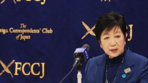 Tokyo Gov. Yuriko Koike speaks during a news conference in Tokyo, Tuesday, Nov. 24, 2020. (AP Photo/Koji Sasahara)