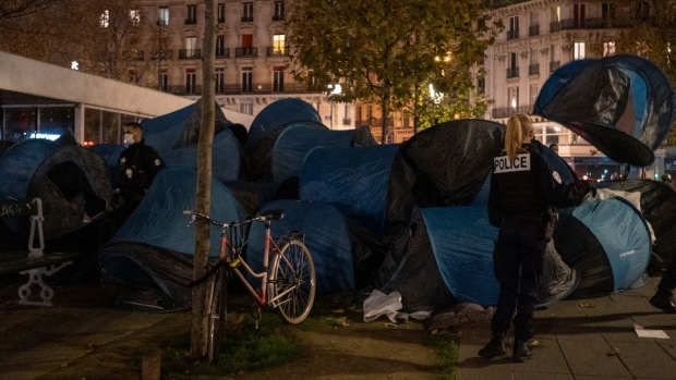 Tents in Place de la Republique in Paris, on Nov.23, 2020. (Alexandra Henry  /Utopia56 via AP)