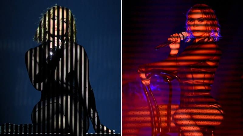 Jennifer Lopez's performance at the 2020 American Music Awards on the left is seen in comparison to Beyoncé's 2014 Grammys performance. (Getty Images/CNN)