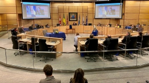 Regina's newly elected mayor and city council were sworn in during a ceremony on Monday. (Gareth Dillistone / CTV News Regina)