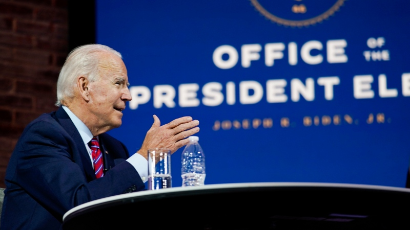 U.S. President-elect Joe Biden speaks during a meeting at The Queen theater Monday, Nov. 23, 2020, in Wilmington, Del. (AP Photo/Carolyn Kaster)