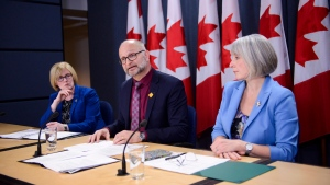 Carla Qualtrough, Minister of Employment, Workforce Development and Disability Inclusion, left to right, David Lametti, Minister of Justice and Attorney General of Canada, and Patty Hajdu, Minister of Health, during a press conference at the National Press Theatre in Ottawa on Monday Feb. 24, 2020. THE CANADIAN PRESS/Sean Kilpatrick