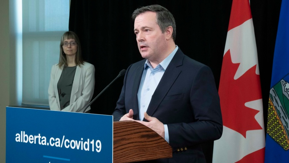 Premier Jason Kenney and Chief Medical Officer of health Dr. Deena Hinshaw during a news conference in the Edmonton Federal Building on Monday, April 20, 2020. (photography by Chris Schwarz/Government of Alberta)