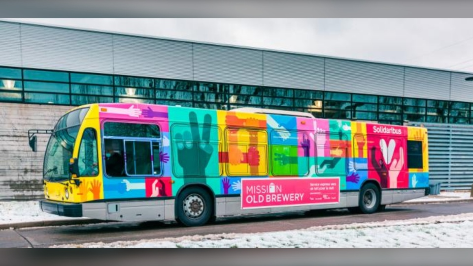 The 'Solidaribus' will provide a shuttle service to Montrealers experiencing homelessness in the winter months / Mission Old Brewery/Christian Blais