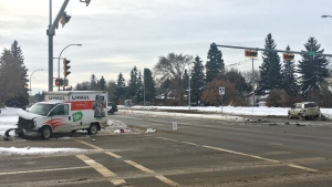 Police are investigating a crash between a U-Haul and an SUV in east Edmonton on Tuesday, Nov. 24, 2020. (CTV News Edmonton)