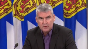Nova Scotia Premier Stephen McNeil provides an update on COVID-19 during a news conference in Halifax on Nov. 24, 2020.