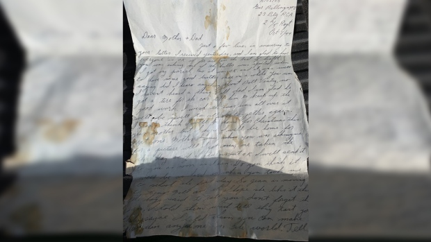 This letter from the Second World War found behind the wall of a Guelph home. (Natalie van Rooy / CTV Kitchener)