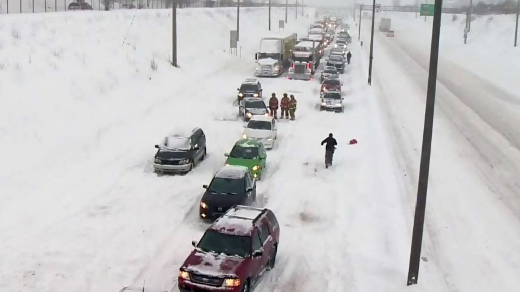 Cars stranded on Highway 13