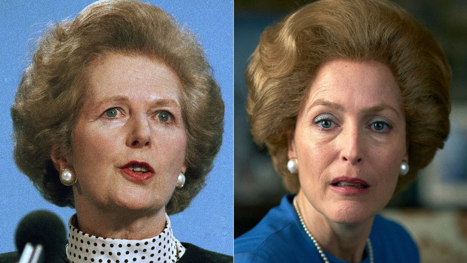 This combination of photos shows Gillian Anderson, portraying Margaret Thatcher in a scene from the fourth season of 'The Crown,' right, and Margaret Thatcher in Scarborough, England on March 18, 1989. Season four premieres on Sunday, Nov. 15. (AP Photo, left, and Netflix)