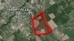A map of the 182 acre parcel of land where a proposed correctional facility in Kemptville would be built if approved.