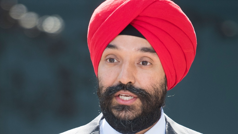 Minister of Innovation, Science and Industry Navdeep Bains speaks during a news conference in Montreal, Monday, Aug 31, 2020. An Ontario nuclear power company is getting $20 million from Ottawa to try to get its new reactor in line with Canada's safety regulations. THE CANADIAN PRESS/Graham Hughes
