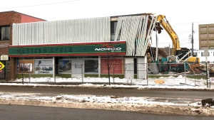 After standing for over 80 years, the Western Cycle building was torn down Tuesday Nov. 24, 2020. (CTV News Edmonton)