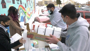 Operation Warmth donated 4,500 masks to the iHuman Youth Society. Tuesday Nov. 24, 2020 (CTV News Edmonton)