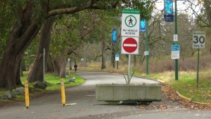 The entrance to Beacon Hill Park located at the corner of South Gate Street and Quadra Street is shown closed to vehicle traffic. Victoria closed many streets in the park this spring to allow for more space for physical distancing by pedestrians: (CTV News)