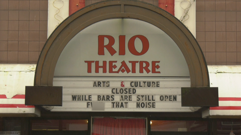 The marquee at the Rio Theatre in East Vancouver reads