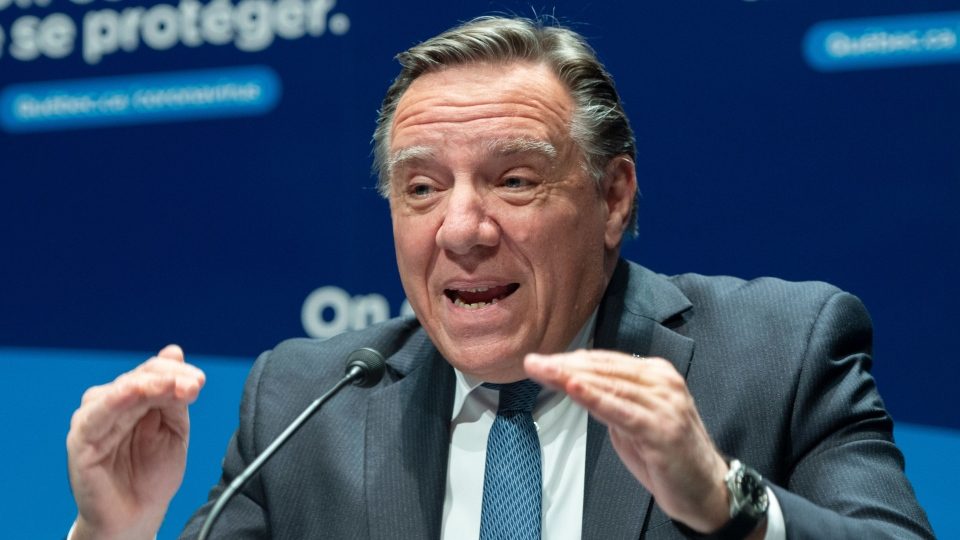 Quebec Premier Francois Legault speaks to the media at the COVID-19 press briefing Monday, October 26, 2020 in Montreal.THE CANADIAN PRESS/Ryan Remiorz