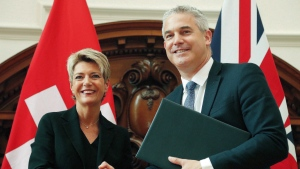 Swiss minister of justice Karin Keller-Sutter and Britain's Brexit Minister Stephen Barclay shake hands after signing a contract about the future relationship in case of a 'No Deal' Brexit in London, Wednesday, July 10, 2019. (AP Photo/Frank Augstein)