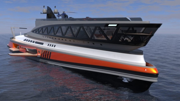 Lazzarini Design Studio has unveiled a series of renderings of a new yacht design that's been devised to resemble a shark. (Lazzarini Design Studio / CNN)