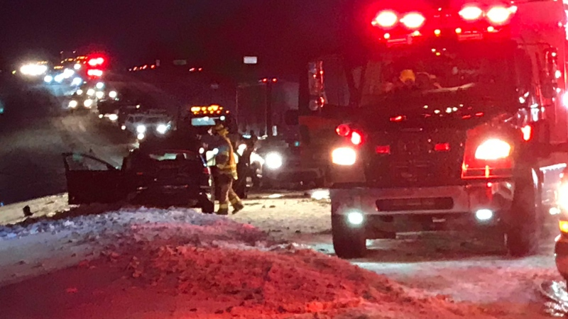 Eastbound traffic on Highway 16A west of Edmonton is blocked after a head-on collision Wednesday morning.