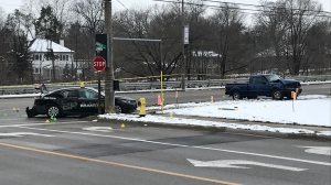 """A car and a pickup truck seen damaged after what police called a """"serious crash"""" in Brantford on Nov. 25, 2020. (Dan Lauckner / CTV Kitchener)"""