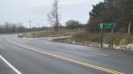 The area of Highway 33 near Jim Snow Drive where a two-vehicle crash Tuesday sent six people to hospital. (Kimberley Johnson / CTV News Ottawa)