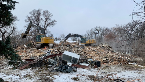 The historic home at 514 Wellington Crescent was demolished on Nov. 25, 2020. (CTV News Photo Scott Andersson)