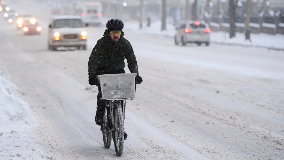 Cycling in the snow, Ottawa