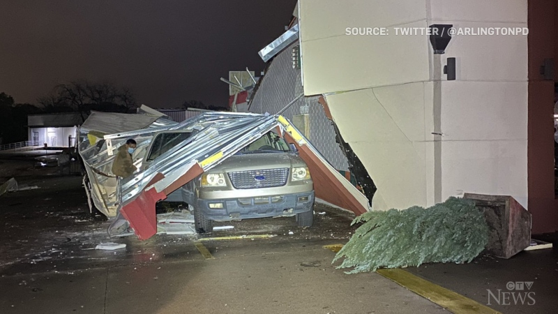 The combination of a severe storm and a tornado in Arlington, Texas, caused damage and displaced dozens of people.