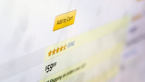 A customer rating for a product for sale on Amazon.com is displayed on a computer screen on Monday, Dec. 16, 2019, in New York. Online reviews at major retailers such as Amazon and Walmart and listing services such as Yelp look like a good place to get first-hand information from people who've tried a product or merchant.(AP Photo/Jenny Kane)