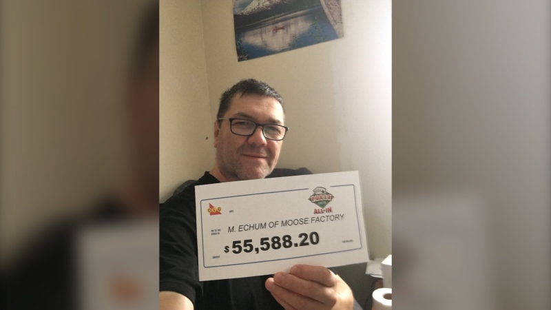 Marcel Echum of Moose Factory anted up won the Poker Lotto All In jackpot worth $50,588.20 on Aug. 12. Echum also won $5,000 on the instant portion of his ticket, bringing his total to $55,588.20. (Supplied)