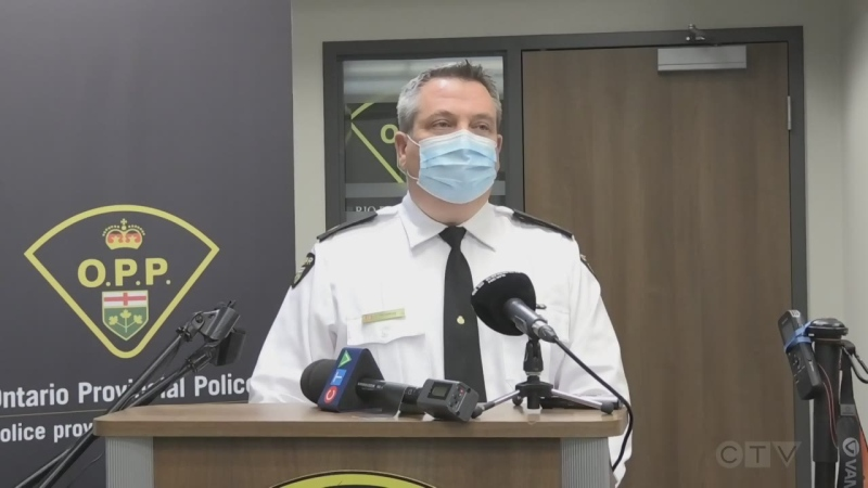 OPP Det. Insp. Kurtis Fredericks answers questions from the media about the first-degree murder charge laid against a North Bay man. Nov. 25/20 (Alana Pickrell/CTV Northern Ontario)