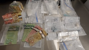 Drugs and money Provincial police seized while executing a warrant in Parry Sound on Thursday, November 19, 2020 (Courtesy OPP)
