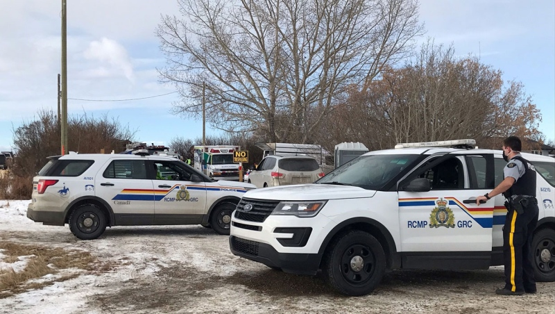 RCMP, EMS and firefighters were called to a rural home east of Calgary at just before noon Wednesday.