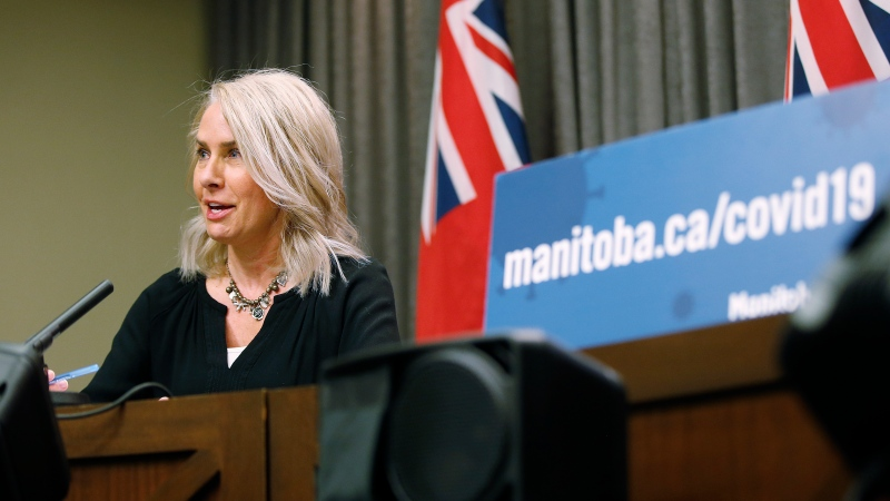 Lanette Siragusa, provincial lead, health system integration, quality/chief nursing officer for Shared Health, speaks during the province's latest COVID-19 update at the Manitoba legislature in Winnipeg Friday, October 30, 2020. THE CANADIAN PRESS/John Woods