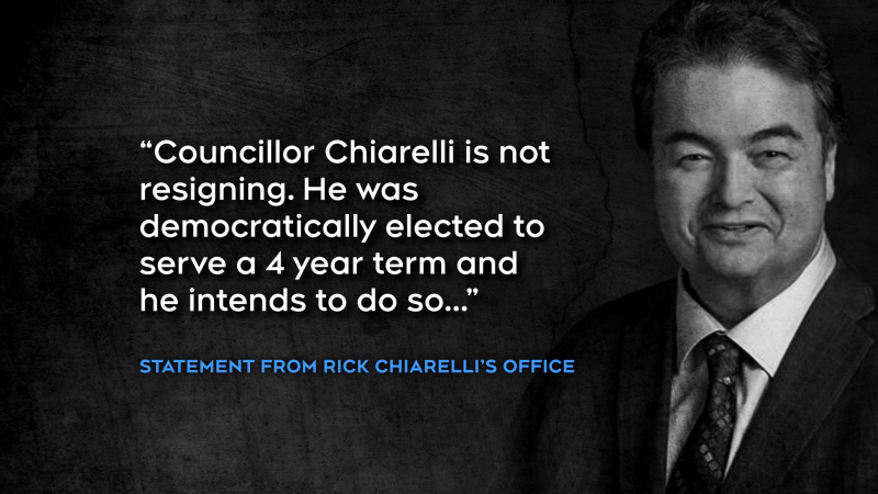 "In a statement after the Council meeting, Chiarelli's office said, ""Coun. Chiarelli is not resigning.He was democratically elected to serve a four year term and he intends to do so."""